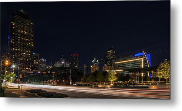 Dallas Night Skyline From Klyde Warren Park Metal Print