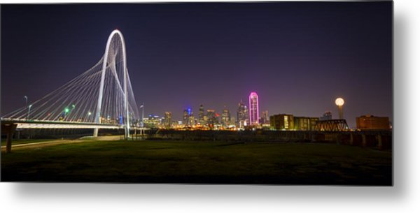 Dallas Skyline And Margaret Hunt Hill Bridge Metal Print