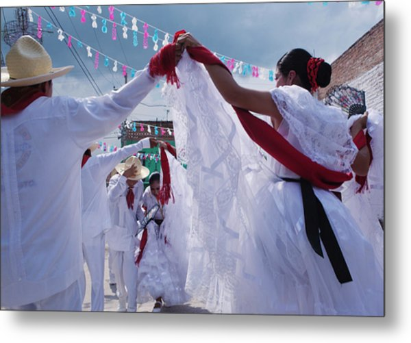 Dancers At A Traditional Fiesta Metal Print by Russell Monk