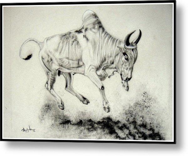 Dancing Bull Metal Print By Aninda Dey