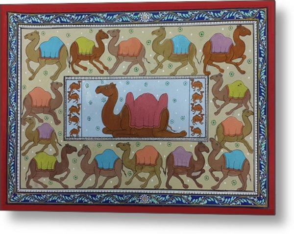 Dancing Camels Metal Print