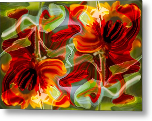 Metal Print featuring the painting Dancing Flowers by Omaste Witkowski