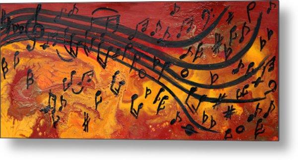 Dancing Musical Notes Metal Print
