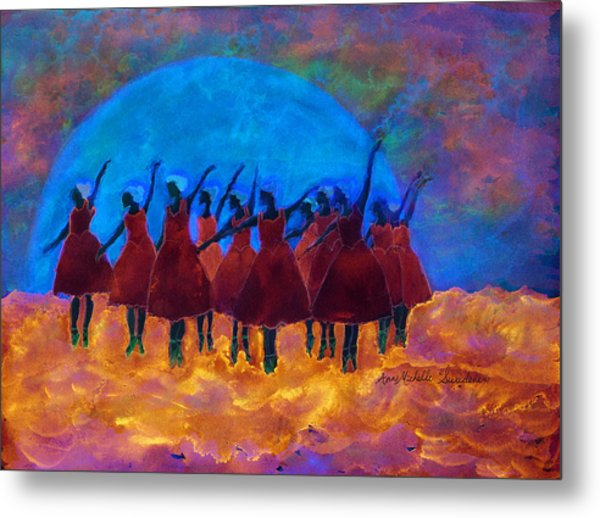 Dancing On Fire In The Moon Light Metal Print