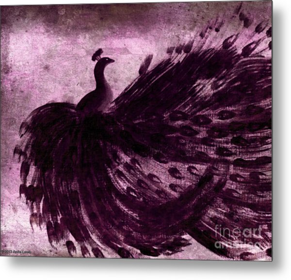Dancing Peacock Plum Metal Print