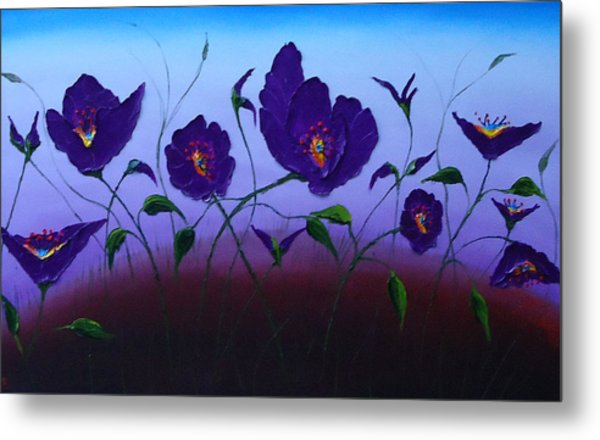 Dancing Purple Poppies 1 Metal Print by Portland Art Creations
