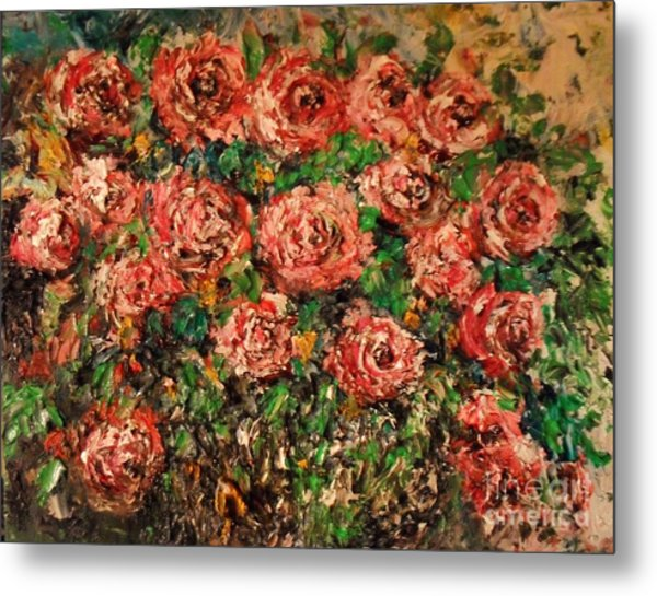 Metal Print featuring the painting Dancing Red Roses by Laurie Lundquist