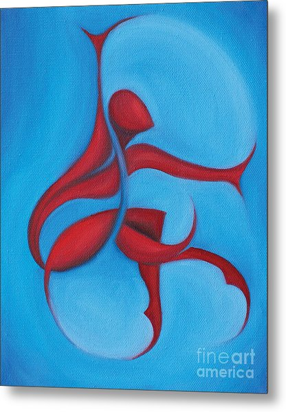 Dancing Sprite In Red And Turquoise Metal Print