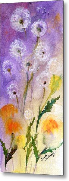 Dandelion Puff Balls Watercolor Metal Print