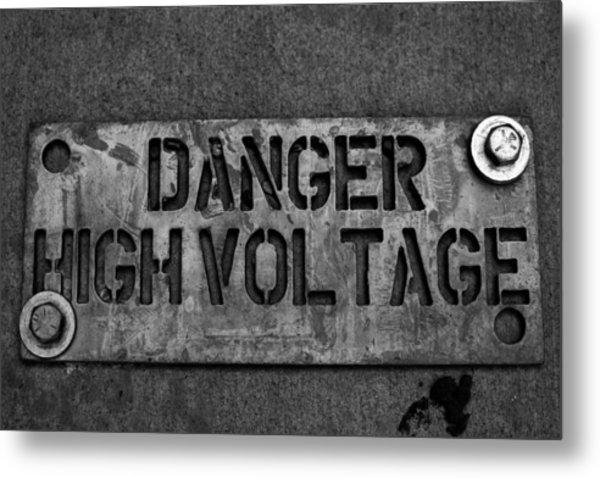 Danger High Voltage Metal Print