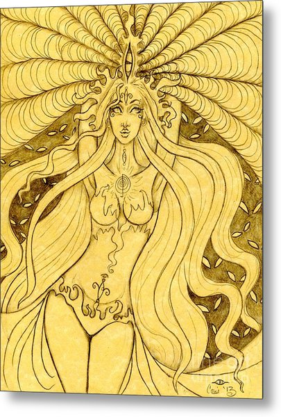 Danu Rising Sketch Metal Print by Coriander  Shea