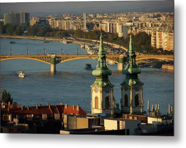 Danube River And Budapest, Hungary Metal Print by Chlaus Lotscher
