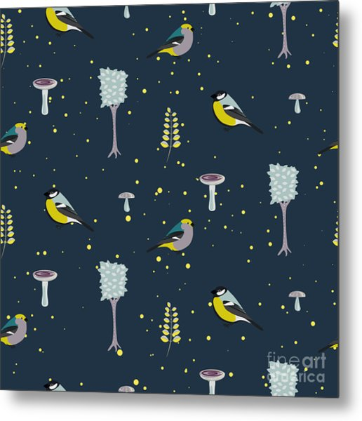 Dark Blue Forest Seamless Pattern With Metal Print