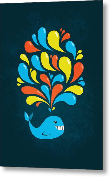 Dark Colorful Splash Happy Cartoon Whale Metal Print