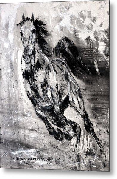 Dark Horse Contemporary Horse Painting Metal Print
