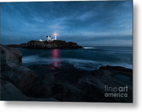 Dark Night At The Nubble Metal Print