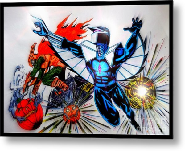 Darkhawk Vs Hobgoblin Focused Metal Print