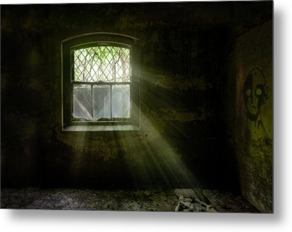 Metal Print featuring the photograph Darkness Revealed - Basement Room Of An Abandoned Asylum by Gary Heller