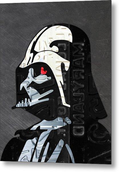 Darth Vader Helmet Star Wars Portrait Recycled License Plate Art Metal Print
