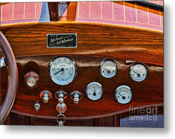 Dashboard In A Classic Wooden Boat Metal Print