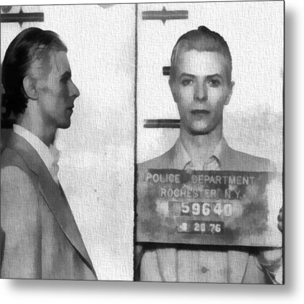 David Bowie Mug Shot Metal Print