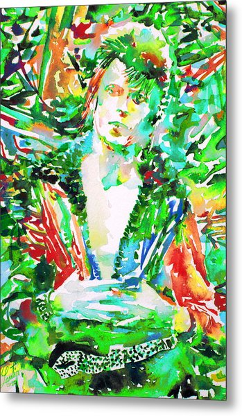 David Bowie Watercolor Portrait.2 Metal Print