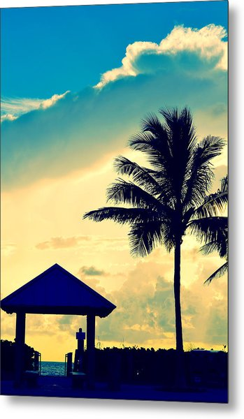 Dawn Beach Pyramid Metal Print