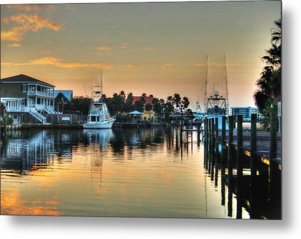 Dawn On A Orange Beach Canal Metal Print