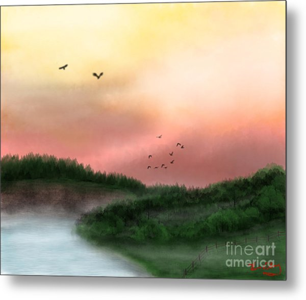 Dawn On The Lake Metal Print