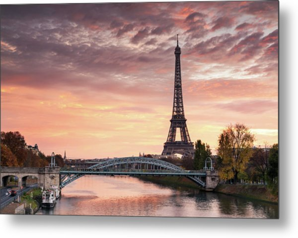 Dawn Over Eiffel Tower And Seine Metal Print by Matteo Colombo