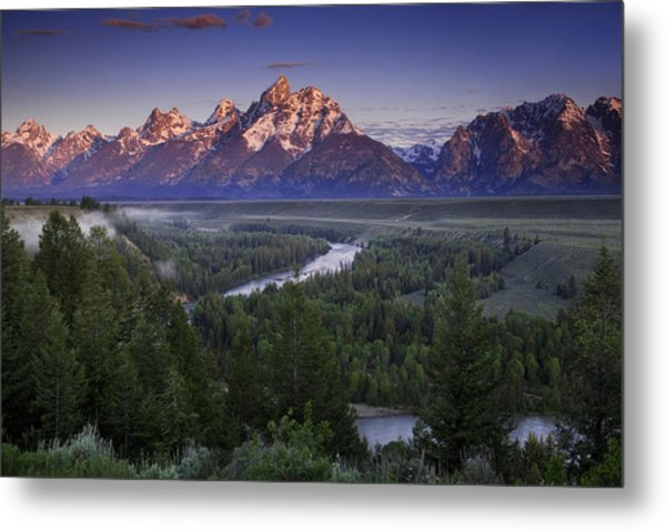 Dawn Over The Tetons Metal Print