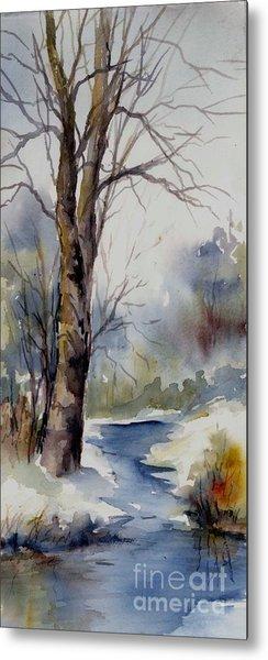 Misty Winter Wood Metal Print