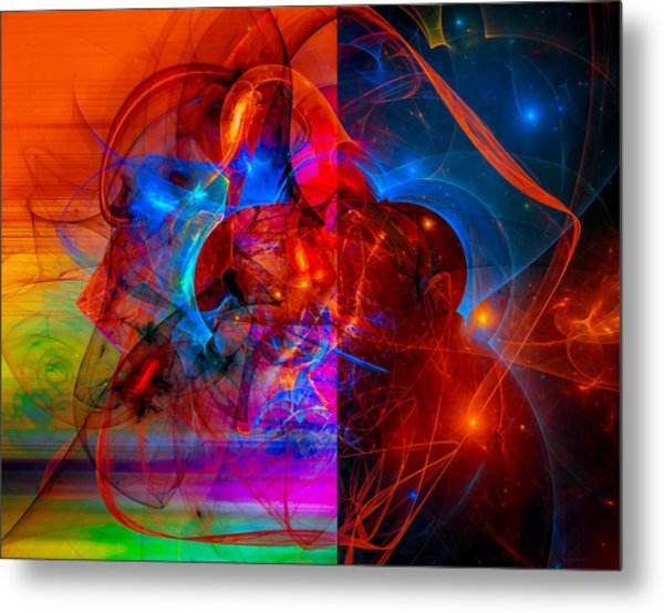 Colorful Digital Abstract Art - Day And Night Metal Print