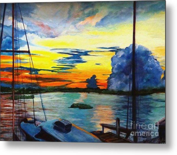 Daybreak Over  Apalachicola River  Metal Print