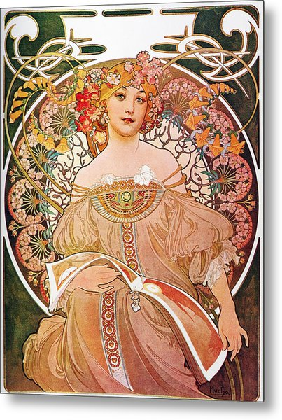Metal Print featuring the painting Daydream by Alphonse Mucha