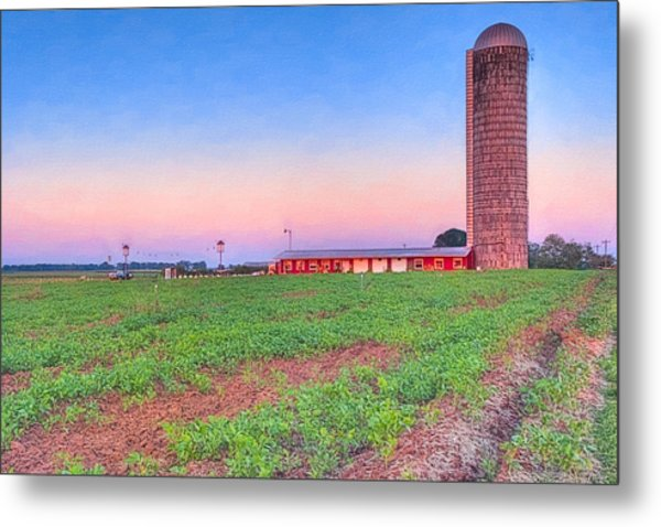 Day's End On The Farm - Rural Georgia Landscape Metal Print by Mark E Tisdale