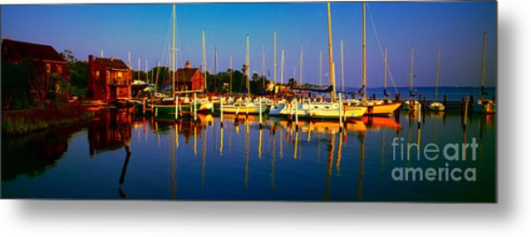 Daytona Beach Florida Inland Waterway Private Boat Yard With Bird   Metal Print