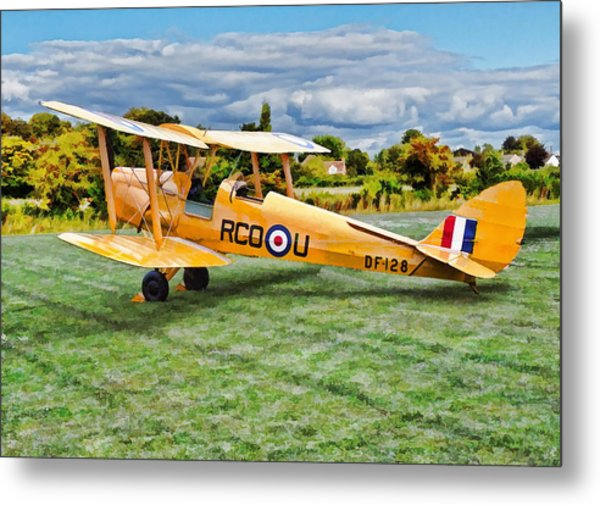 Metal Print featuring the digital art De Havilland Dh82 Tiger Moth by Paul Gulliver