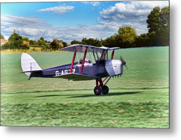 Metal Print featuring the digital art De Havilland Tiger Moth 2 by Paul Gulliver