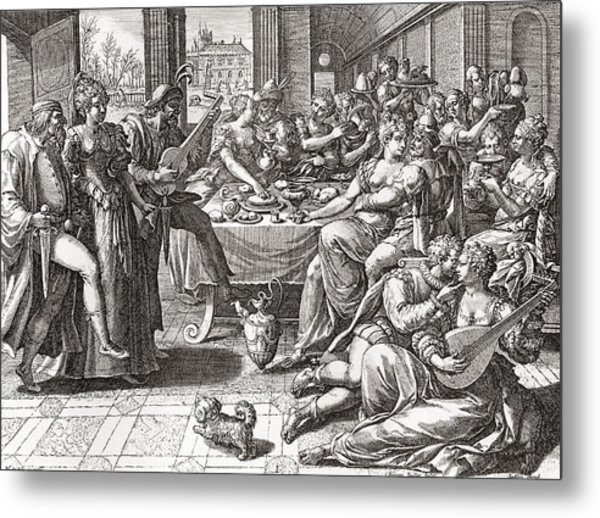 Debauchery And Licentiousness In The 16th Century, After The Painting By Marten De Vos.  From Metal Print