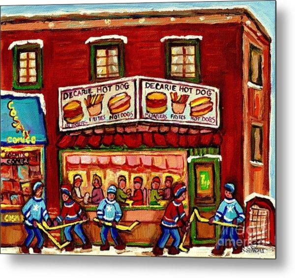 Decarie Hot Dog Restaurant Cosmix Comic Store Montreal Paintings Hockey Art Winter Scenes C Spandau Metal Print
