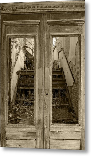 Decaying History In Black And White Metal Print
