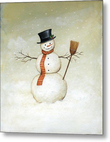 Deck The Halls - Snowman Metal Print