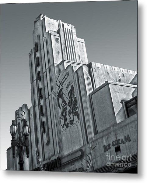 Deco Building In Black And White Metal Print by Gregory Dyer