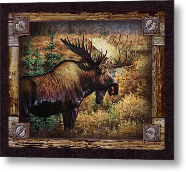 Deco Moose Metal Print