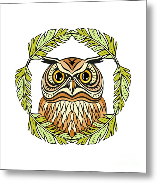 Decorative Illustration With An Owl Metal Print