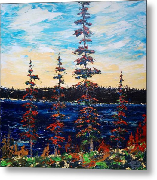 Decorative Pines Lakeside - Early Dusk Metal Print