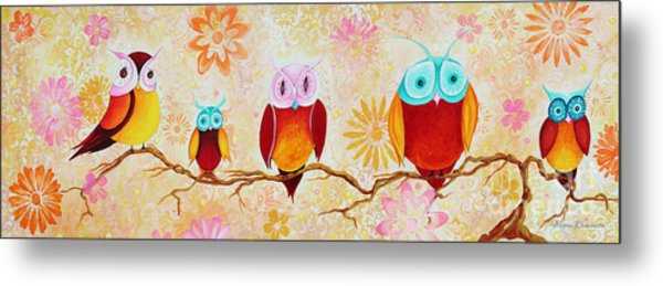 Decorative Whimsical Owl Owls Chi Omega Painting By Megan Duncanson Metal Print
