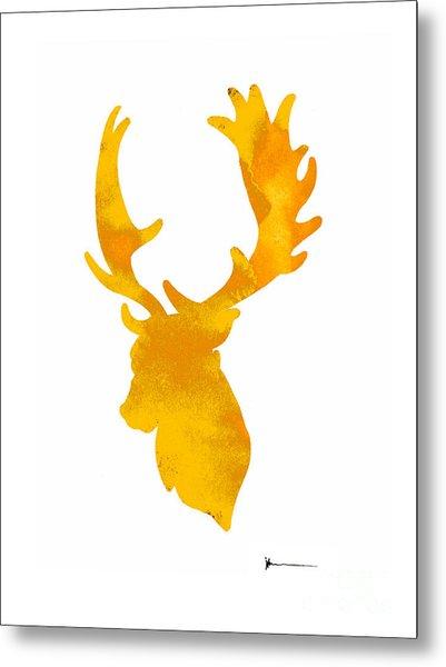 Deer Antlers Image Watercolor Art Print Painting Metal Print