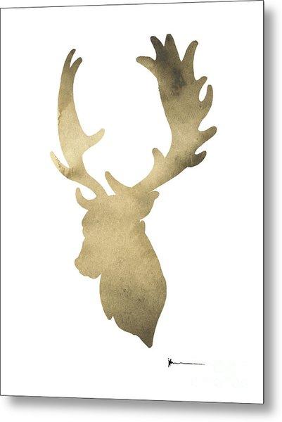 Deer Antlers Original Watercolor Art Print Metal Print
